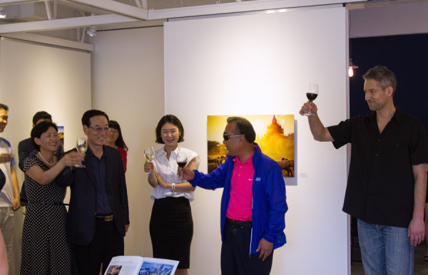 Toast inside the gallery with Peter DeMarco and and the Nam-gu District Chief