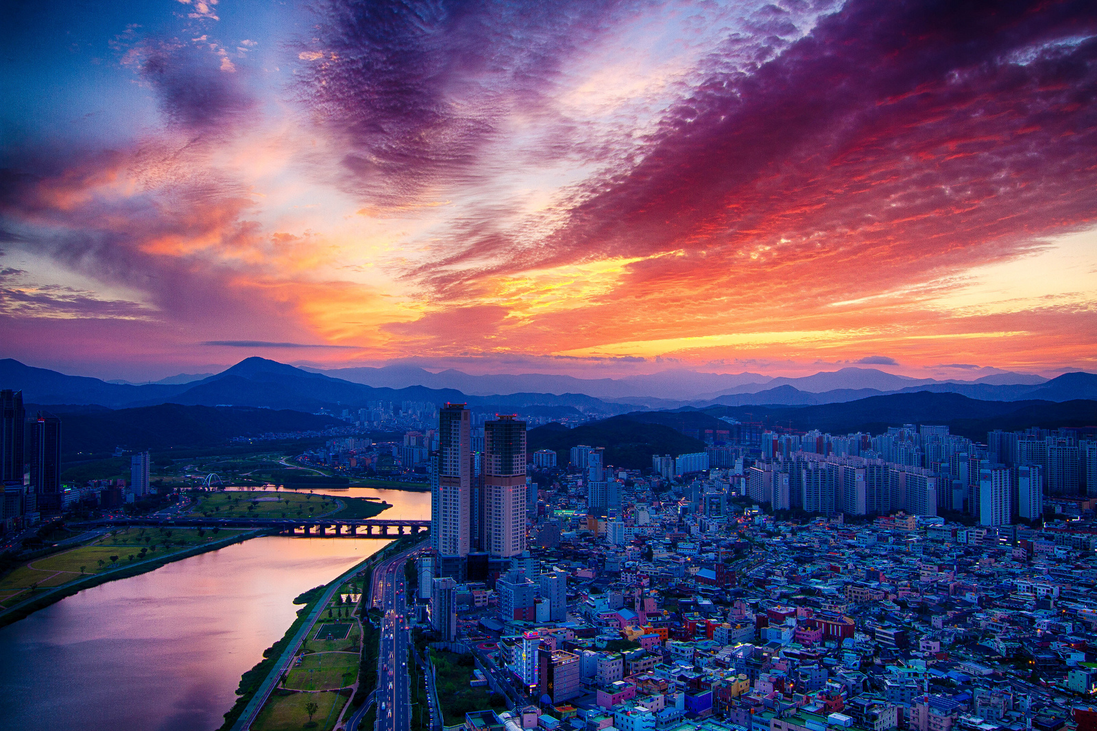 sunset over Ulsan South Korea with clouds and bright colours.