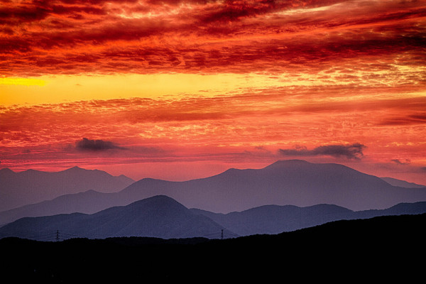 blazing sky over mountains
