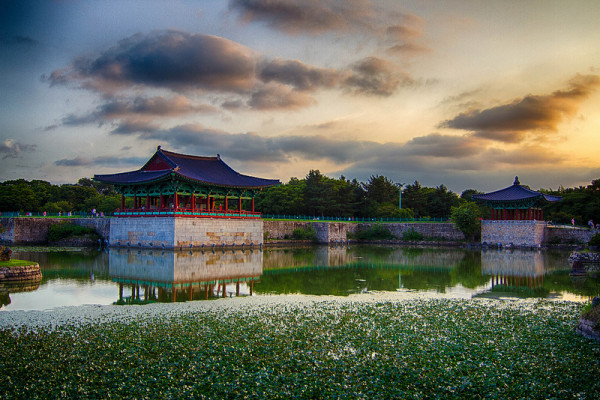 classic anapji pond at sunset
