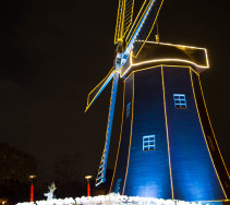 even the windmill is surrounded by hundreds of LED roses