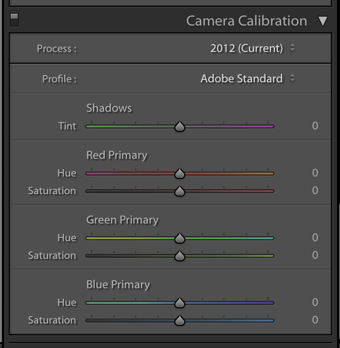 Camera calibration in Lightroom